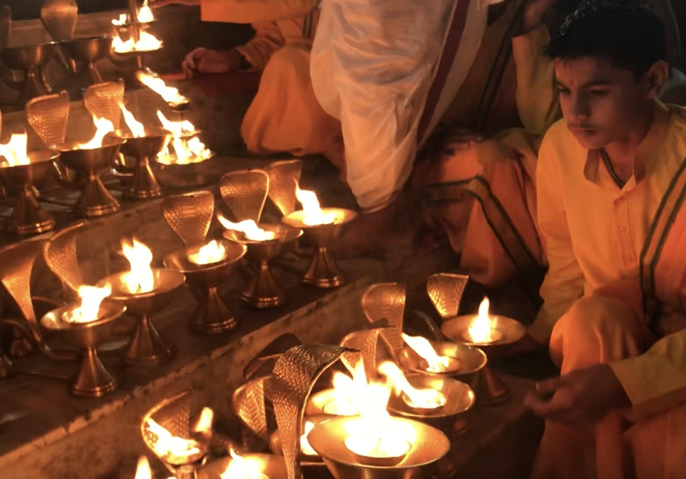 Ganga Aarti fire ceremony.