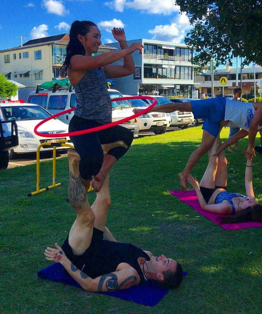 Acro yoga jam with friends, Sunshine Coast.