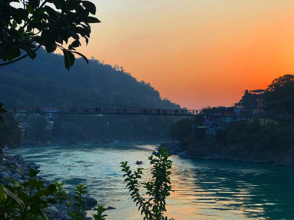 Sunset views of Luxman Jhula bridge.