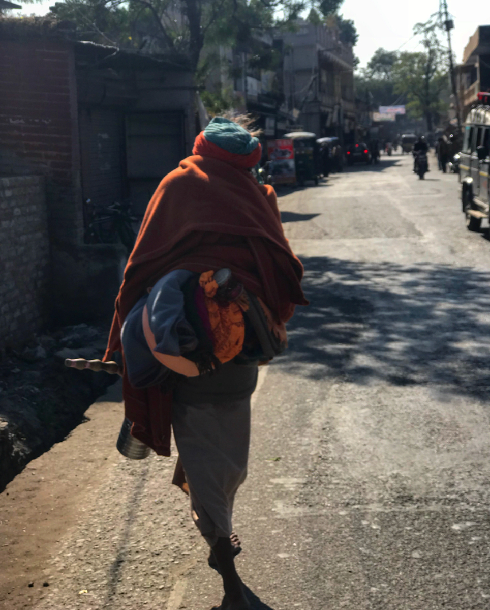 A baba wandering the streets of Rishikesh.