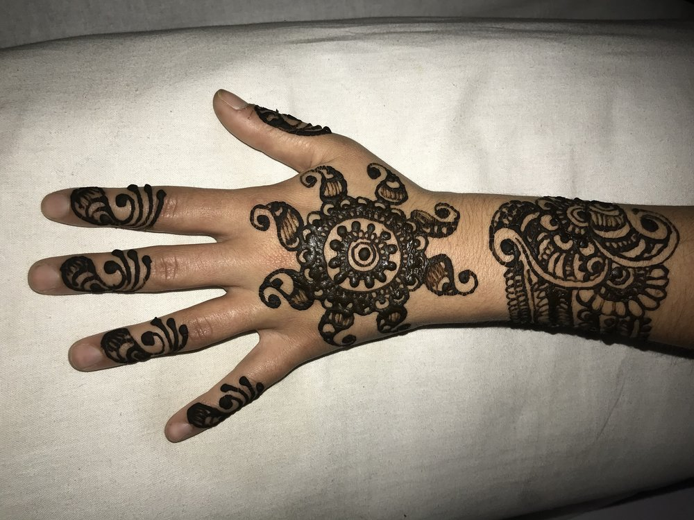 The beautiful henna we received for our graduation ceremony.