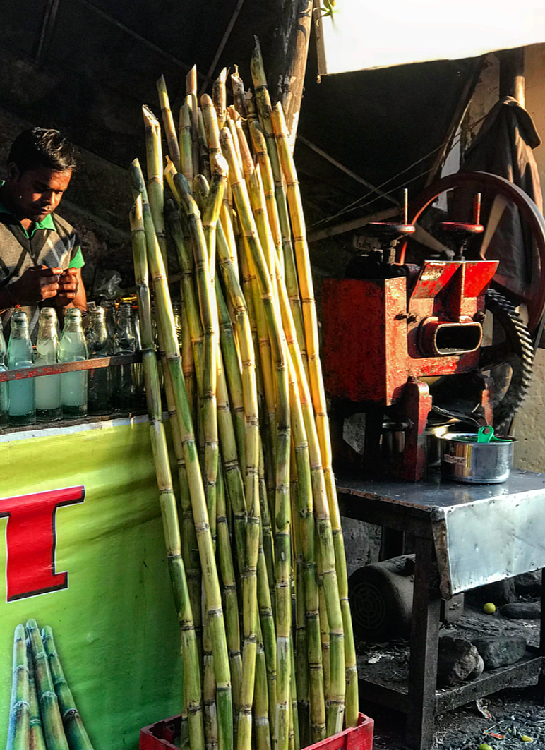Fresh sugar cane juice.
