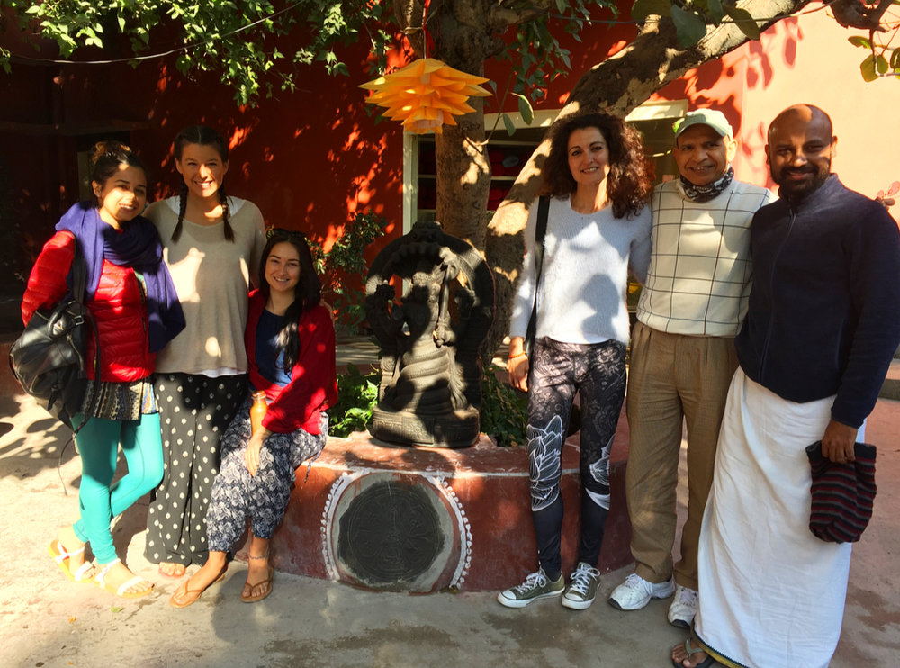 The girls and I with Jayia's two other yoga students at his ashram.