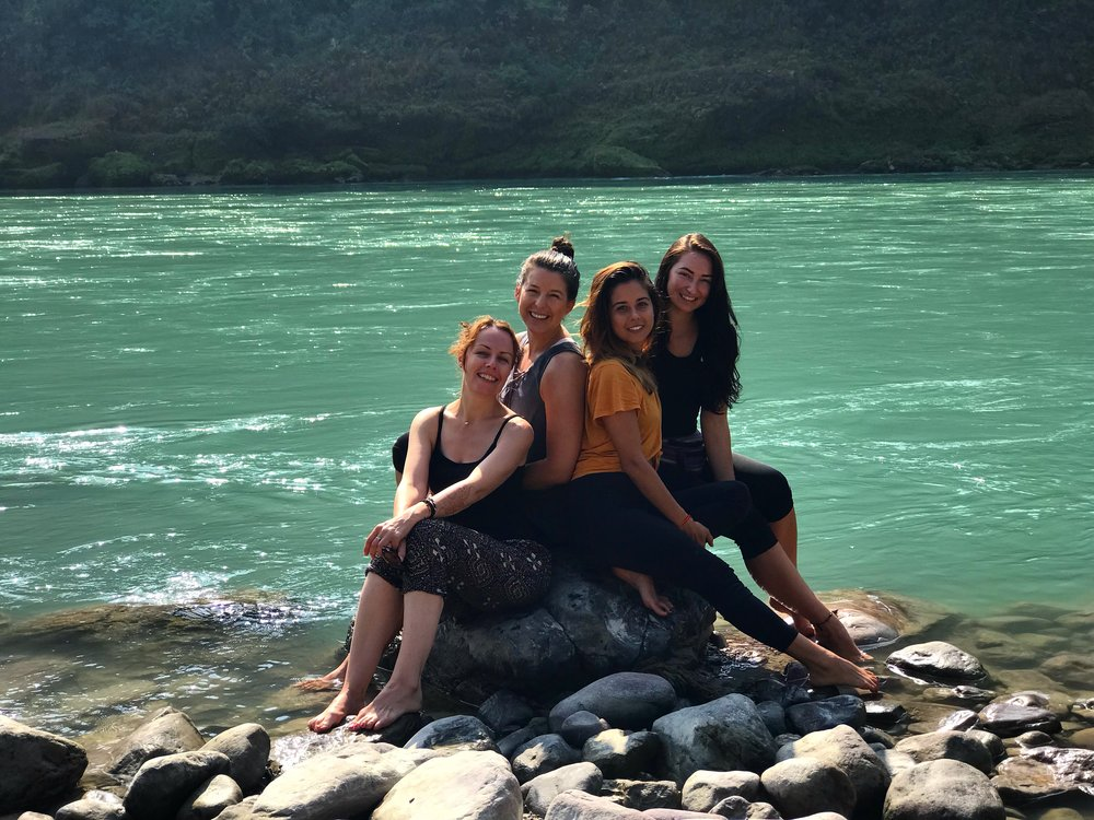 Us ladies enjoying the beauty of Mother Ganga near the meditation caves.