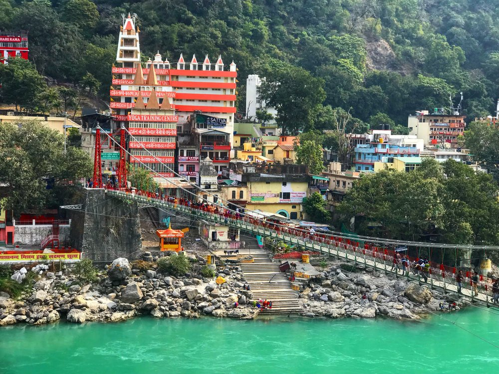 The most beautifully coloured water below Laxman Jhula bridge.