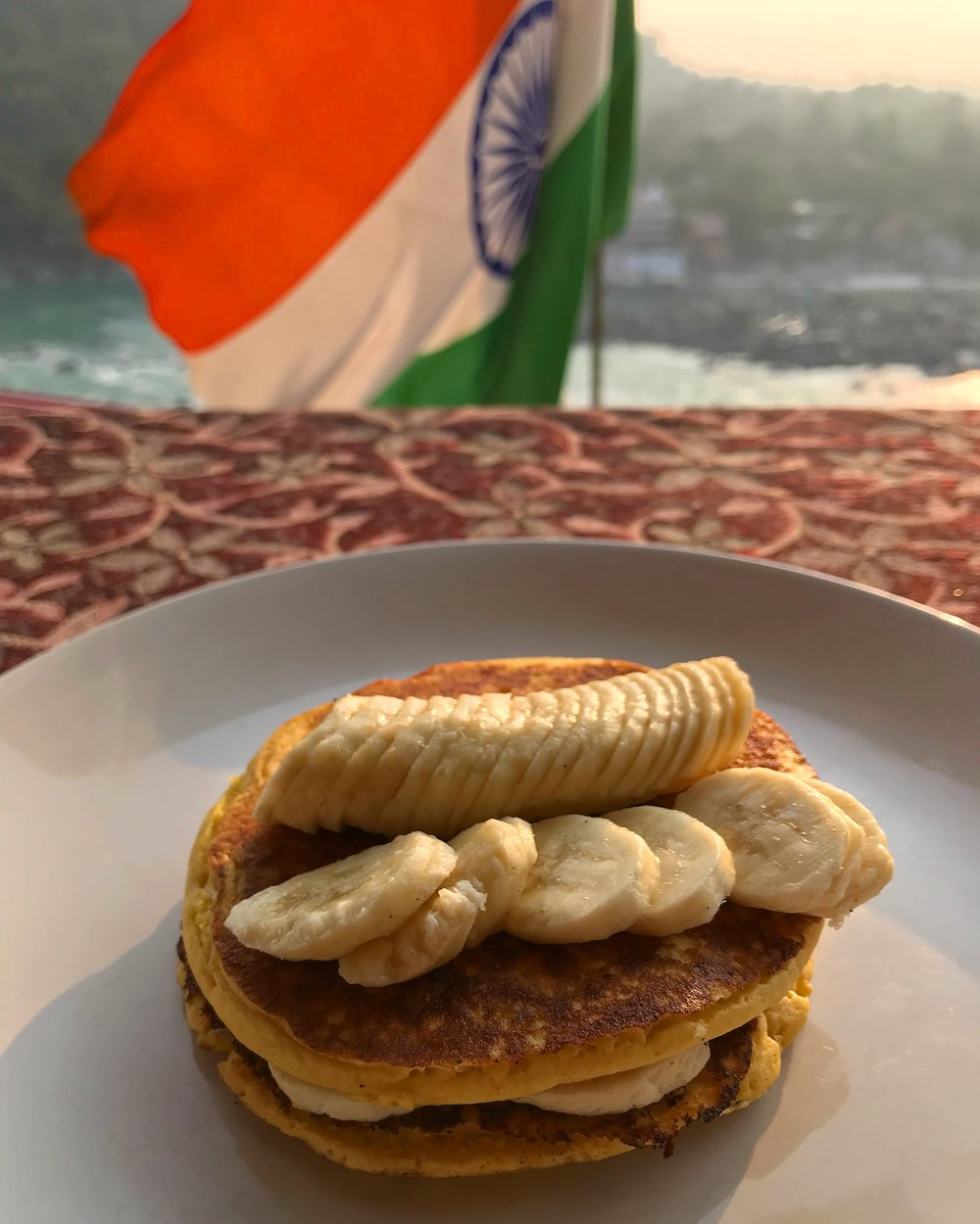 Gluten free vegan pancakes in Rishikesh, India where the whole city is vegetarian.