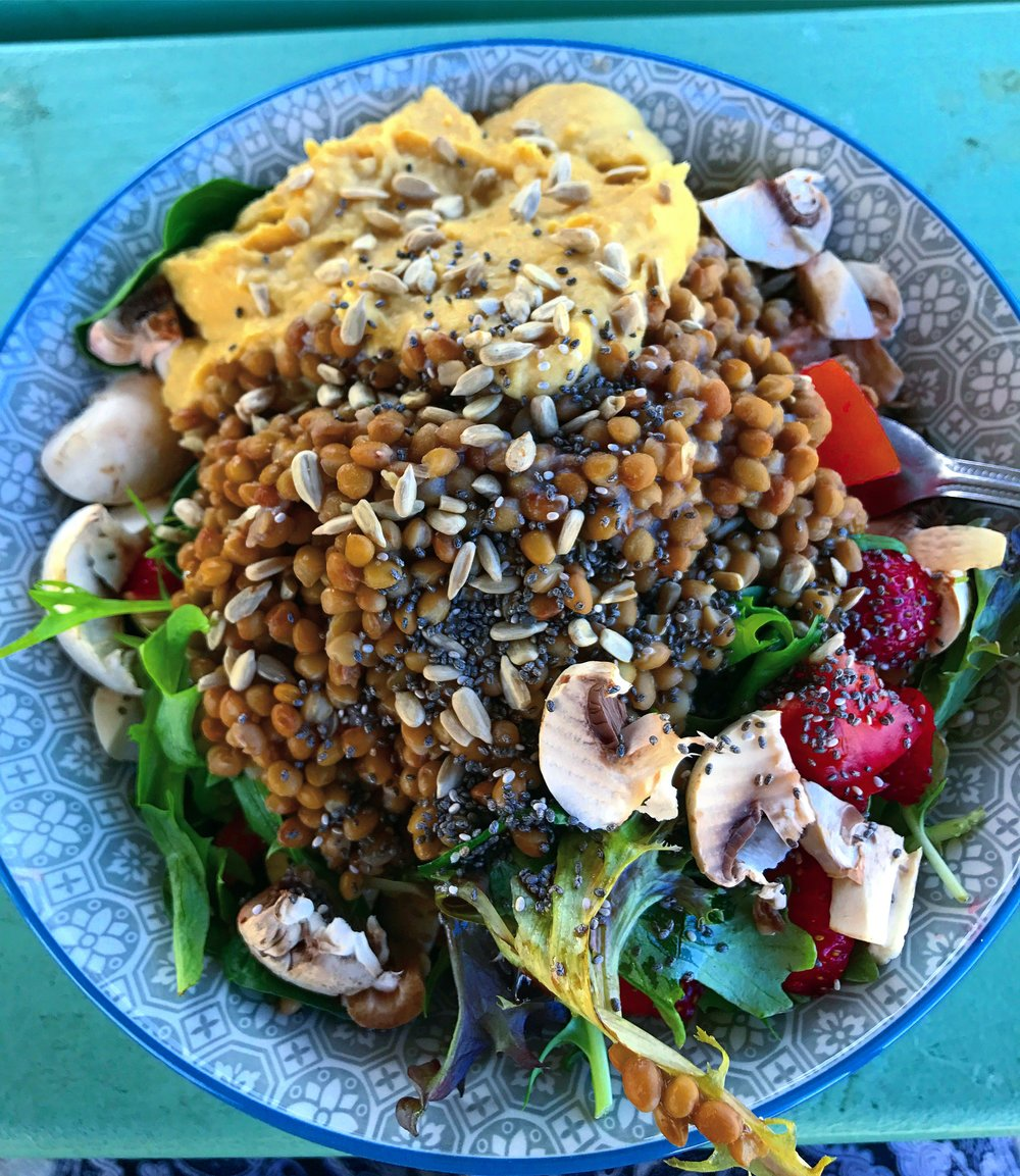 A bowl made up of wholesome whole foods.
