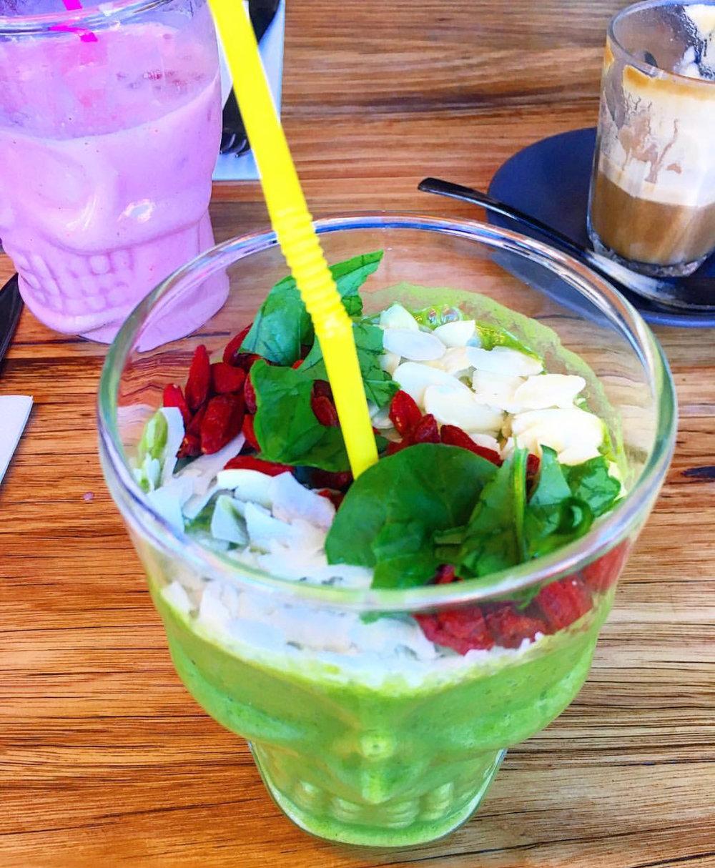 Coconut milk green smoothie from Matcha Mylkbar in Melbourne.