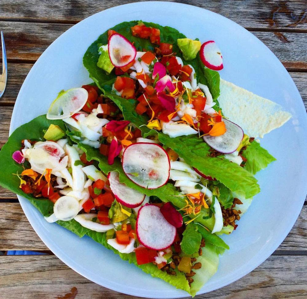 Vegan tacos at all vegan restaurant 'Plant Food & Wine' in Miami.