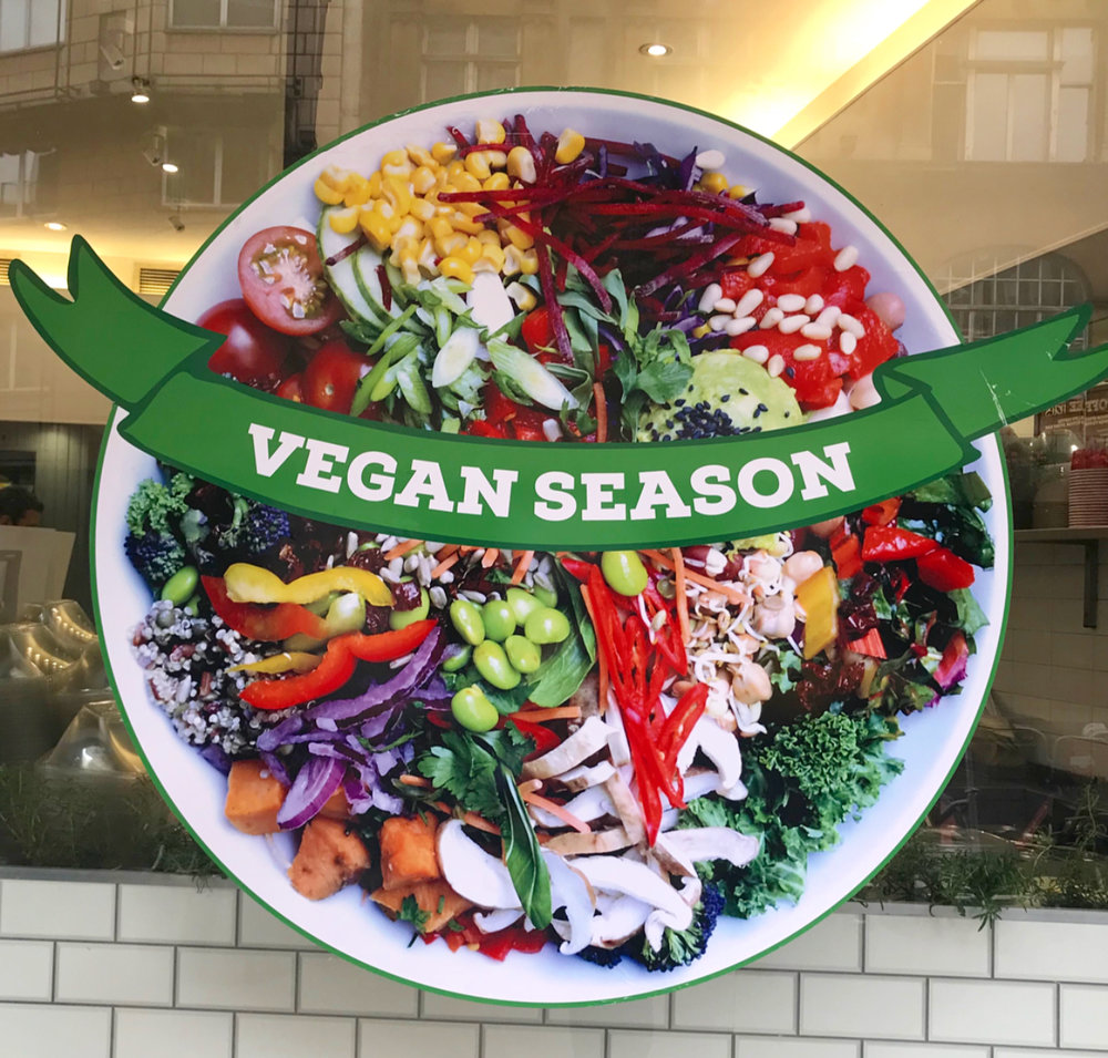 Seeing more and more vegan friendly signs outside restaurants and cafes.