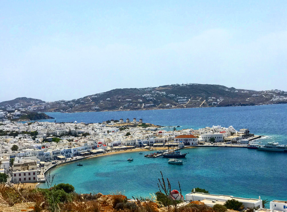 The beautiful views of Mykonos town.