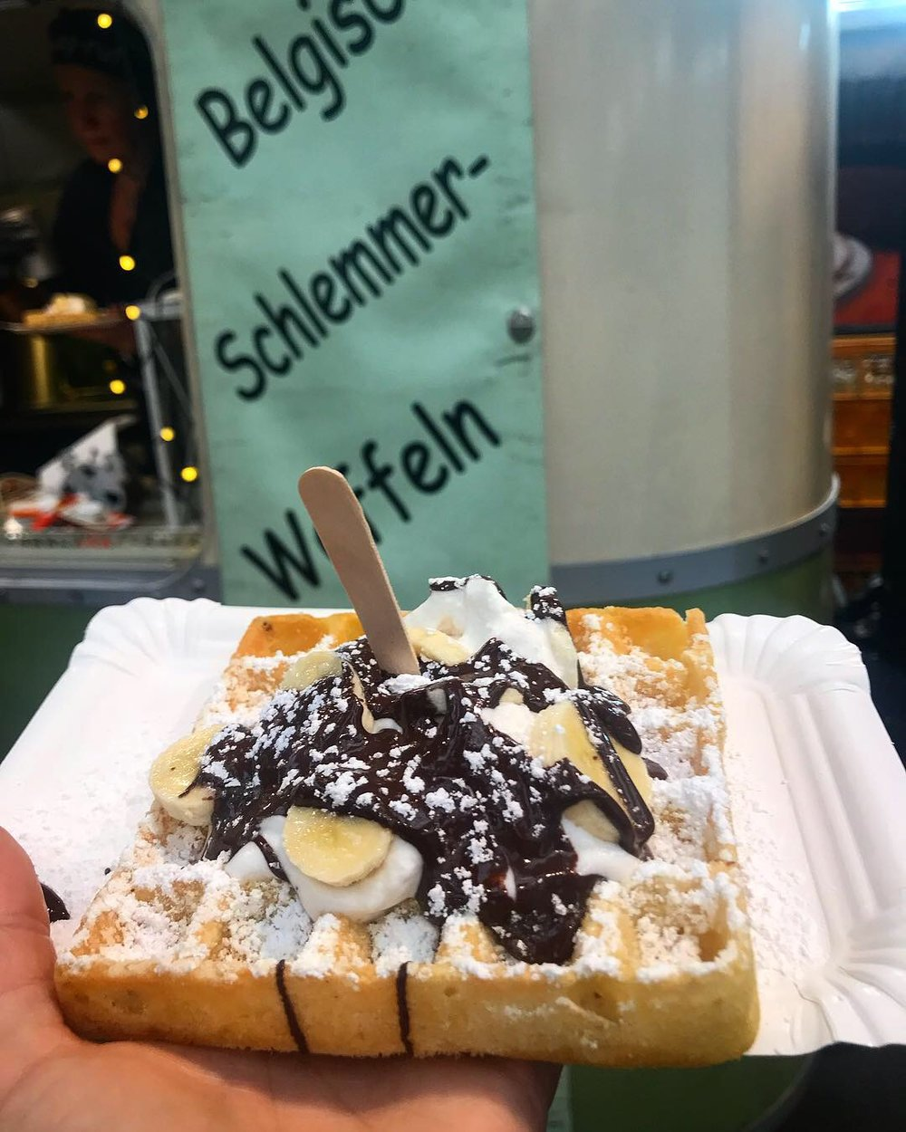 Waffle covered in coconut whipped cream, banana & chocolate (couldn't say no).
