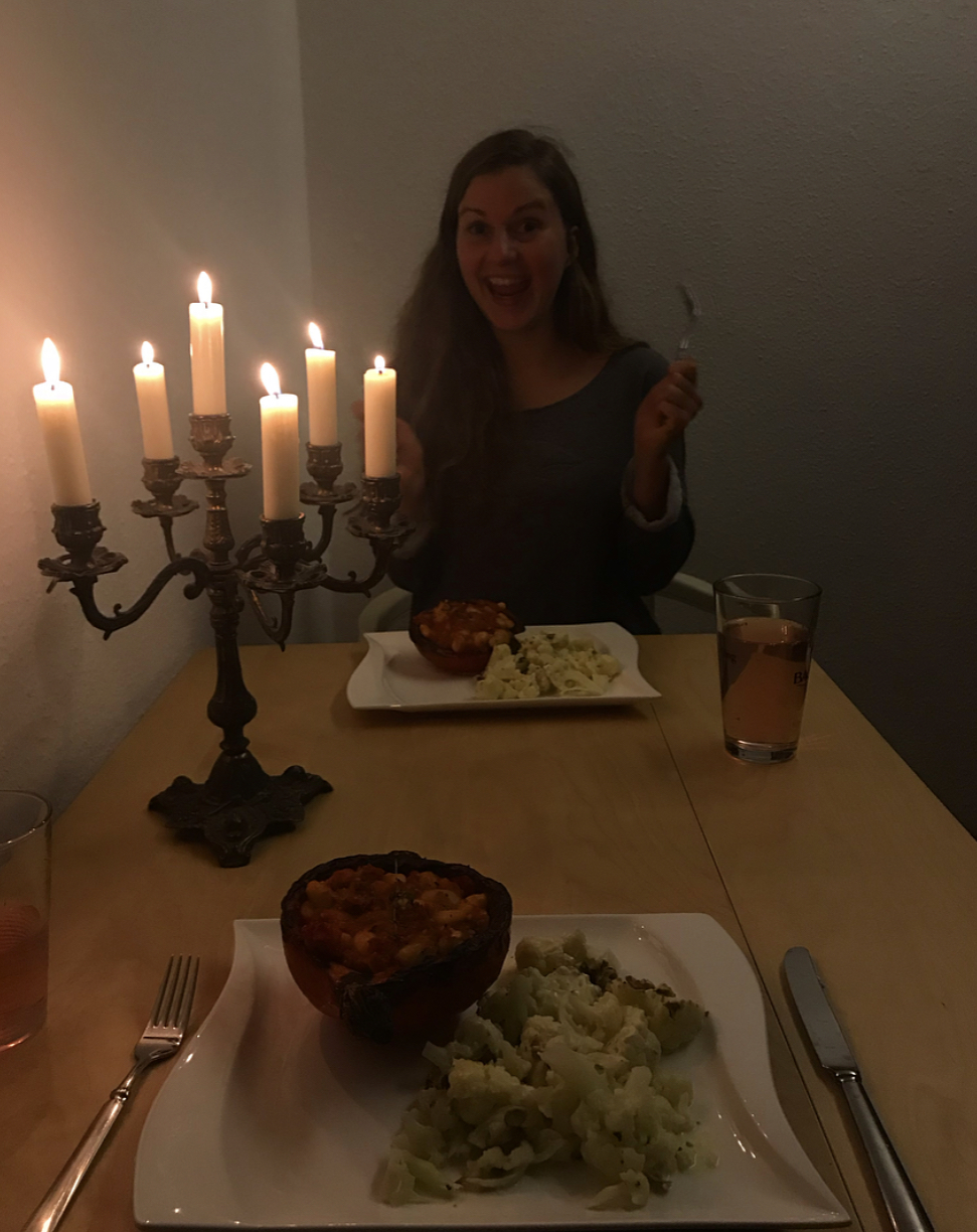 A lovely date night at Sarah's where we cooked stuffed pumpkin and cheesey cauliflower.