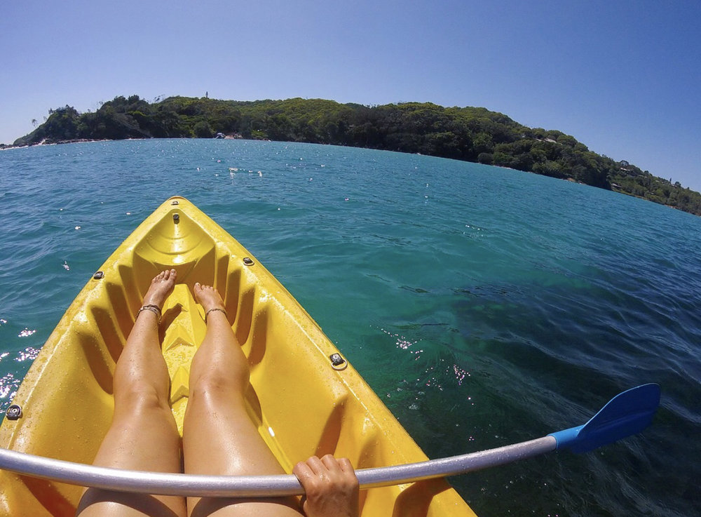 Kayaking at Bryan Bay with dolphins.