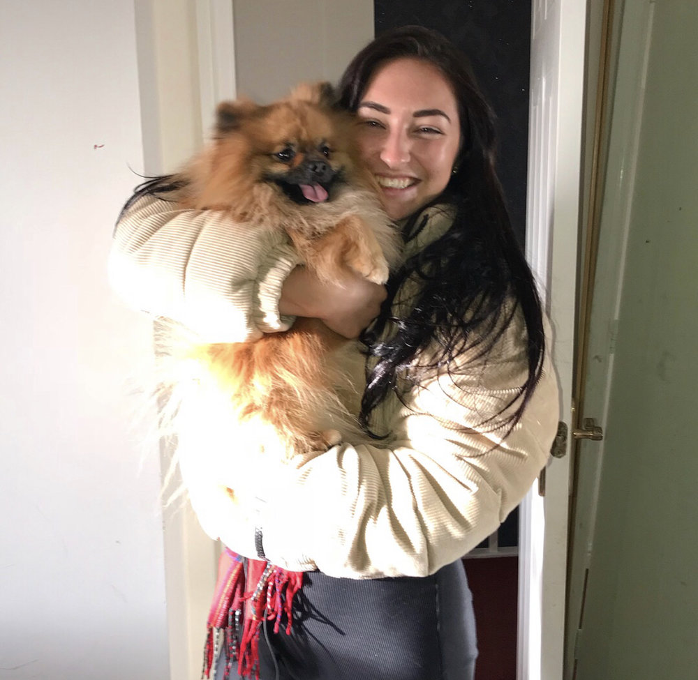 Meeting my aunties dog for the first time.