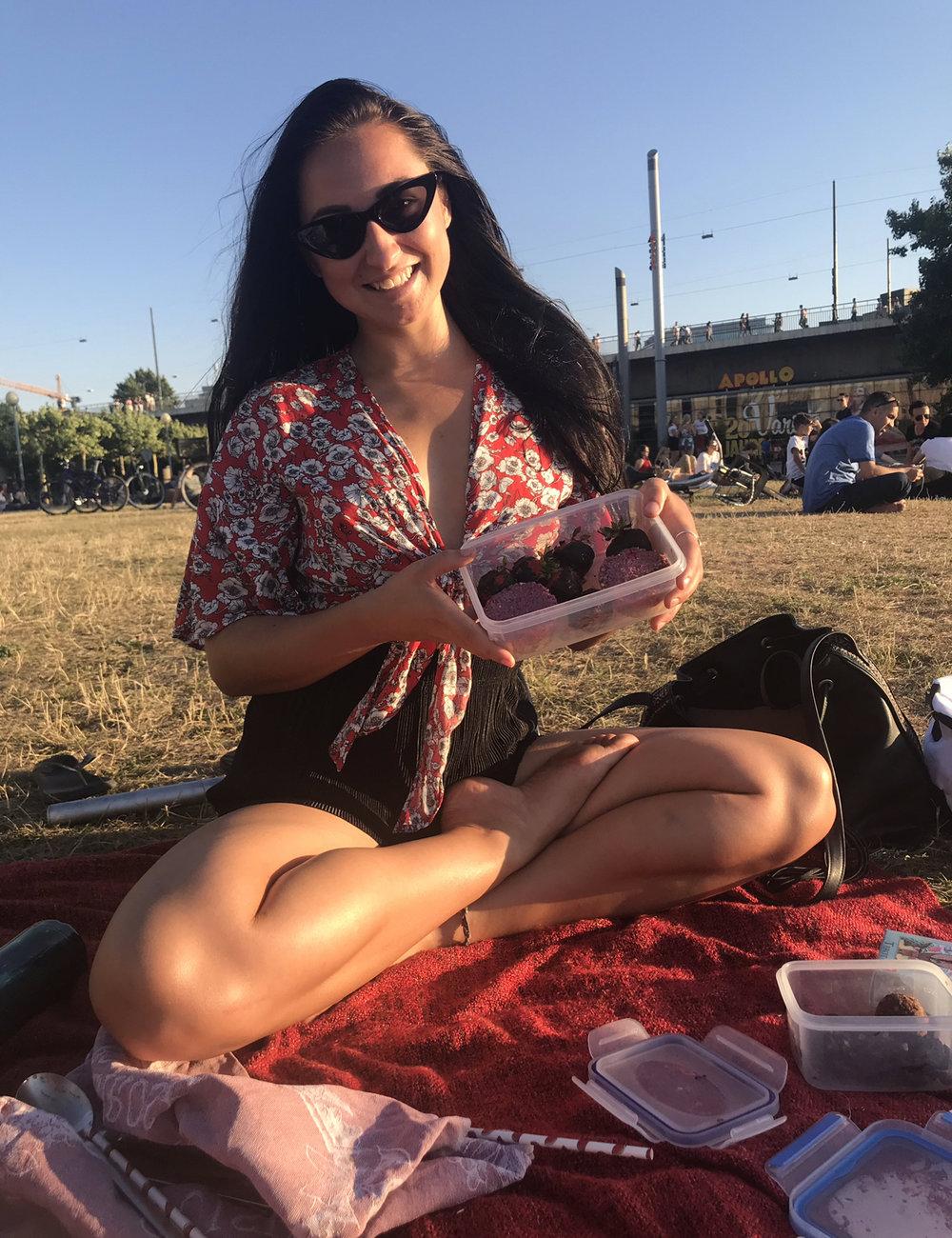 Vegan picnics at sunset.