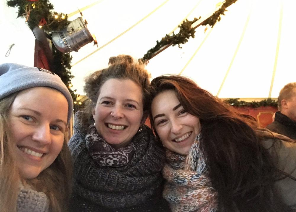 Christmas market fun with Britta and Sarah.