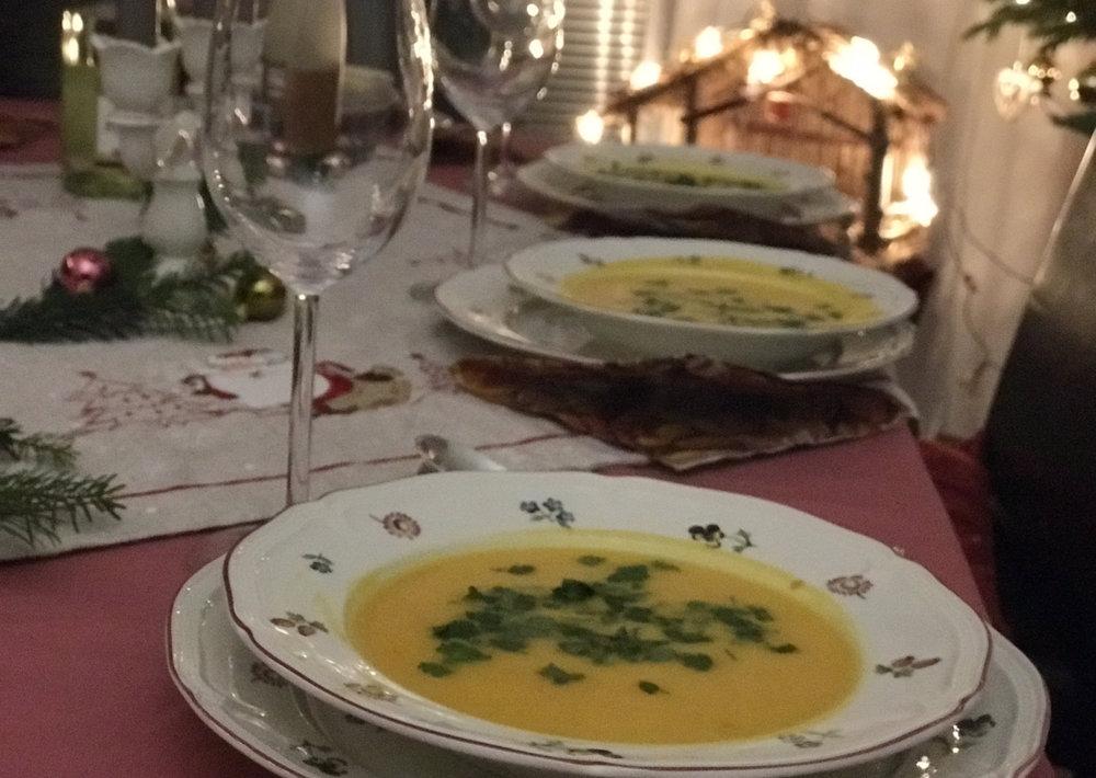 Utes delicious pumpkin and sweet potato soup.