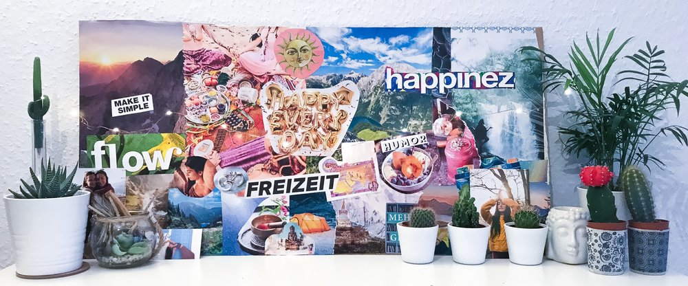 My vision board (with some German words: Freizeit = free time/retreat/chill time)
