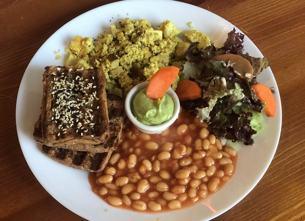 Amazing GF vegan breakfast with scrambled tofu.