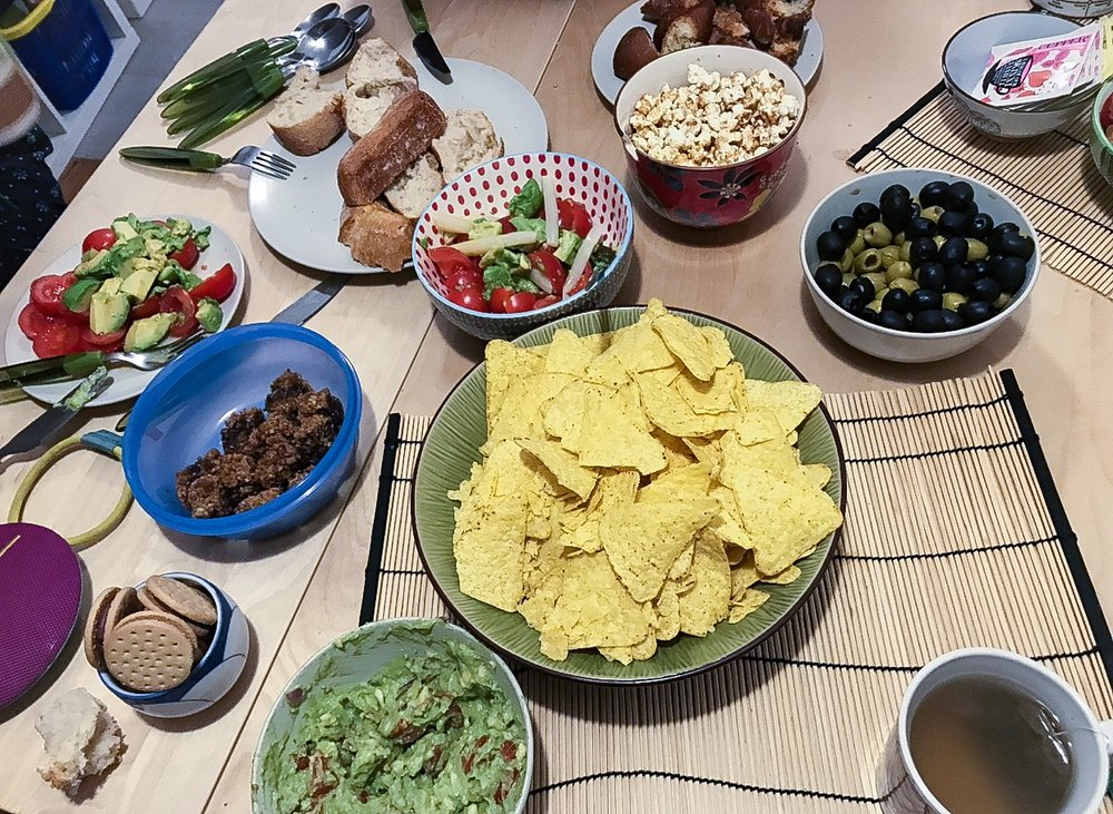 Some delicious snacks for the Women's Night (including homemade guacamole).