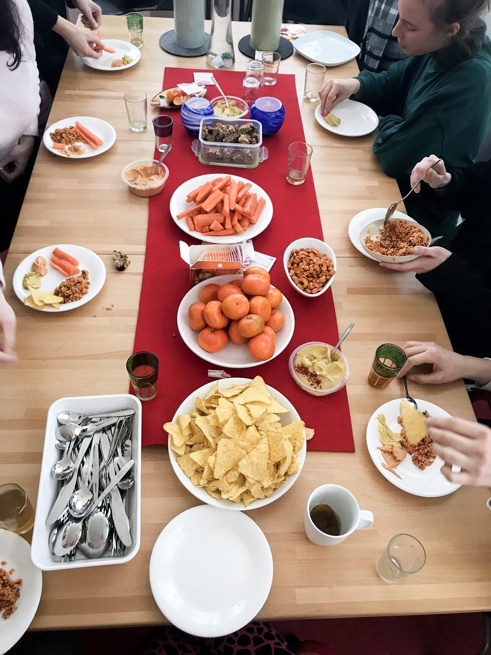 Sacral chakra snacks at the workshop (everything orange).