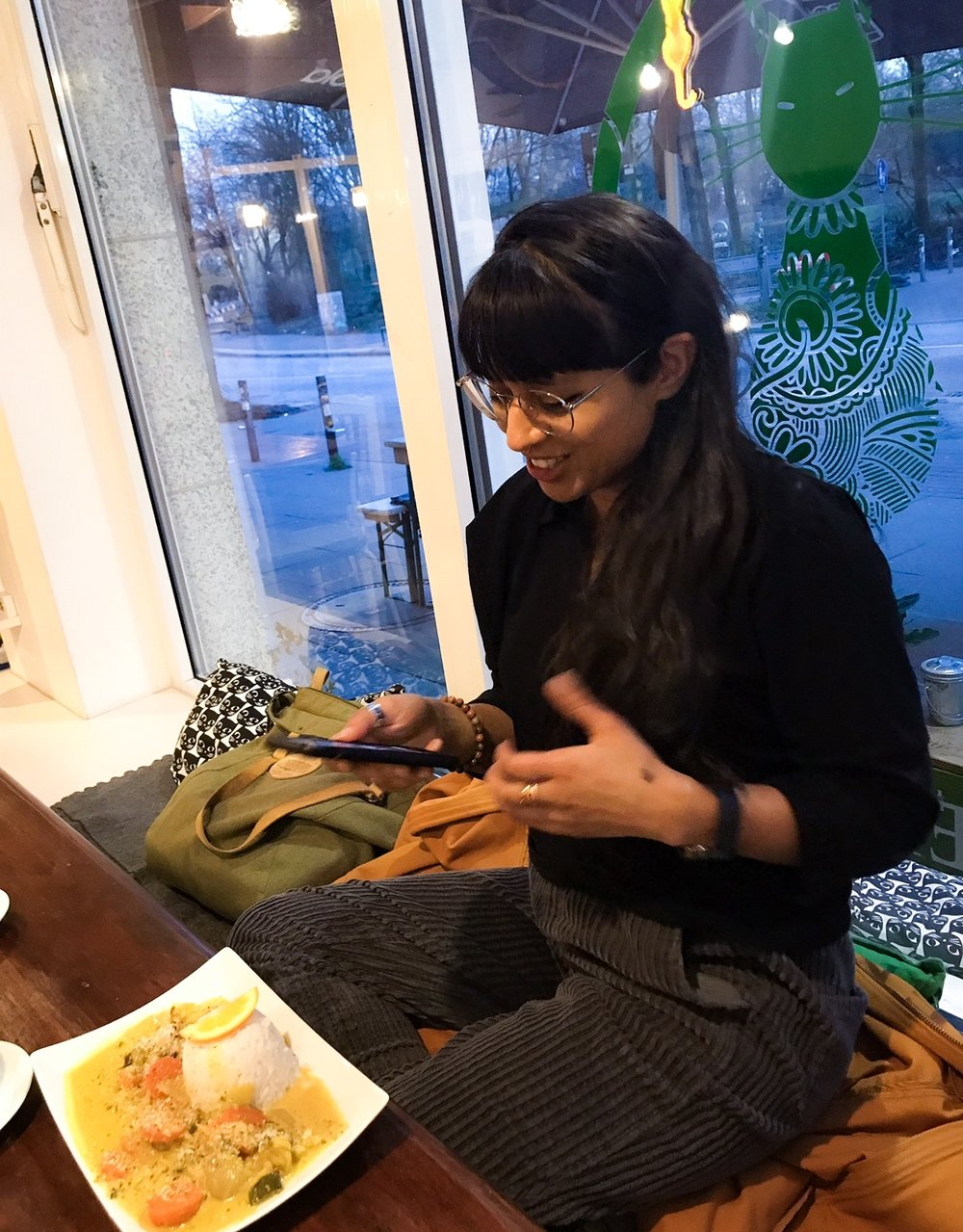 Back at the Cat Cafe with Tanya planning our workshop together (our second home).