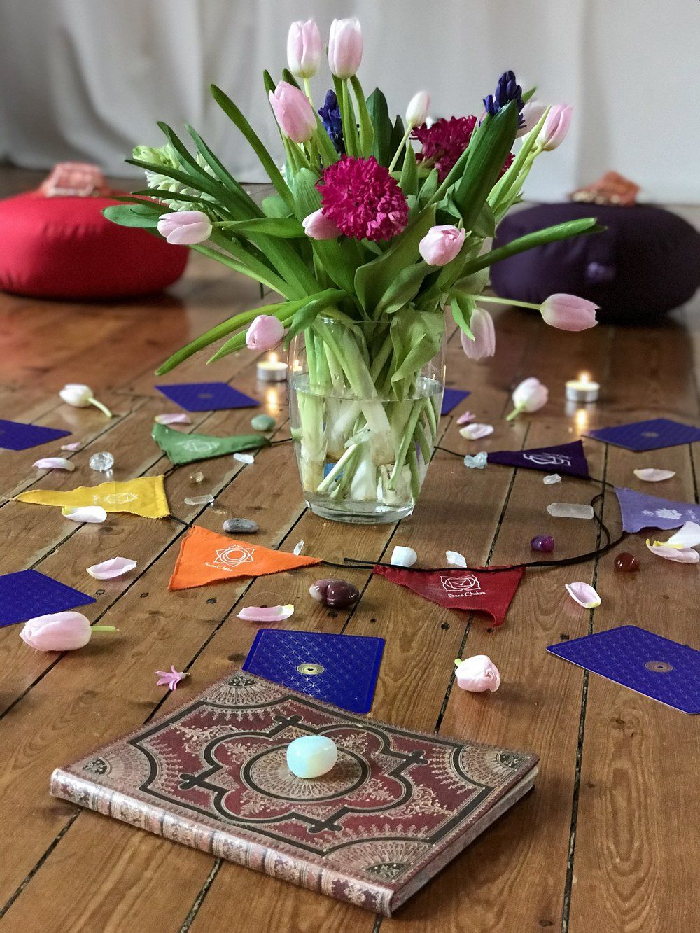 Our beautiful altar at our Bloom into Spring Intuitive Art & Yoga Workshop.