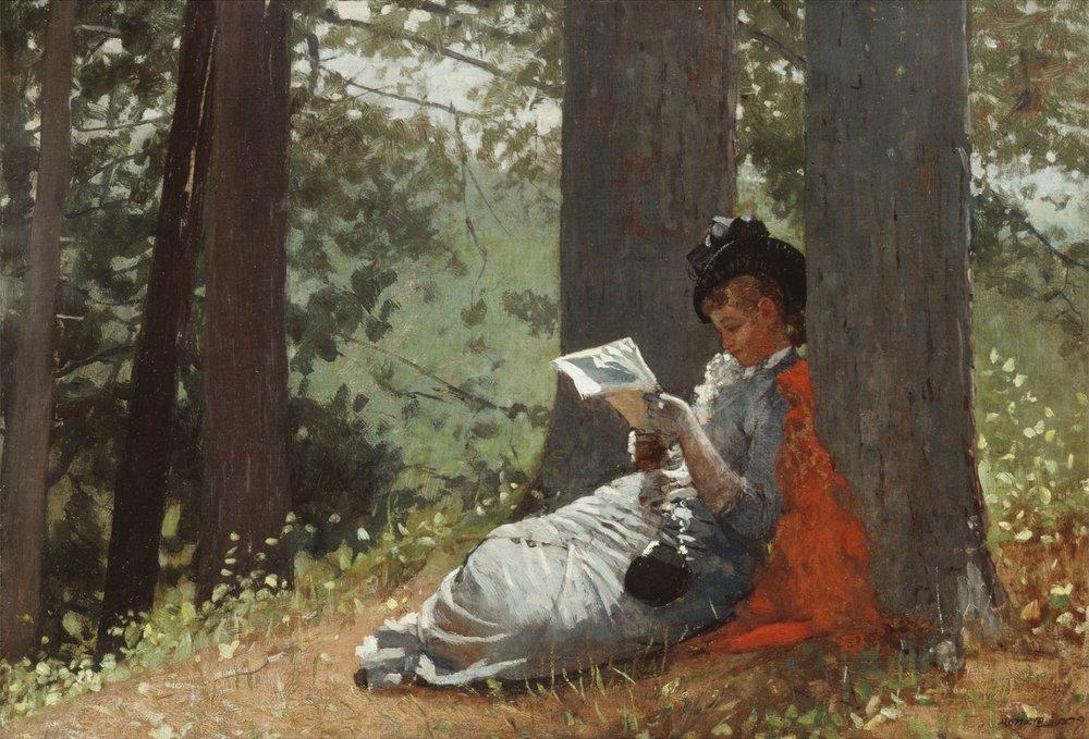 Girl Reading Under an Oak Tree (Winslow Homer, 1879)