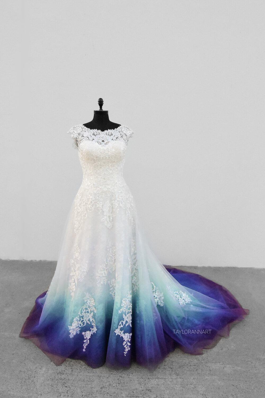 Lace Mint Teal Blue Plum Ombre Wedding Dress,Black Wedding Guest Dress Outfit