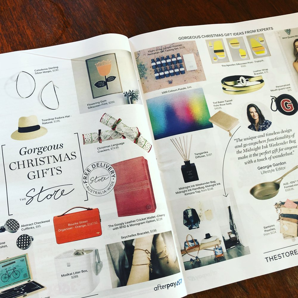 The Store Christmas Gift Guide (2 X products) Sunday Life magazine November 11 2018.