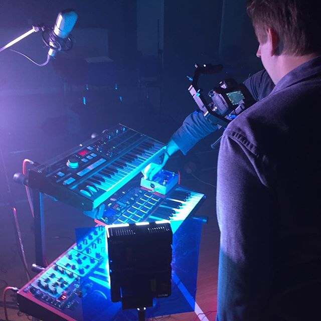 Lights, camera, synth action! #musicvideoshoot #explorersmusic #explorers #newmusic #comingsoon