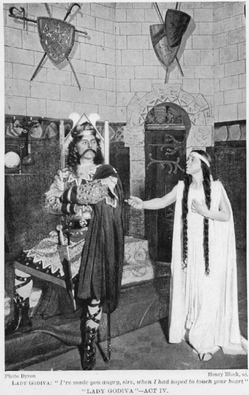 "Sarah Truax in the title role of ""Lady Godiva."" Theatre Magazine, July 1902. The play was performed at the Grand Opera House, Pittsburgh, in June 1902."