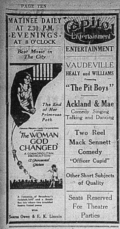 Examiner , Oct. 10, 1921, p.1. In all of these movies it is possible that the leading men, who in each case save the day, kissed the heroines at the end of the films.