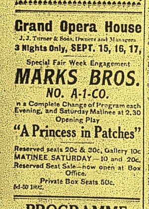 Peterborough Examiner , Sept. 19, 1910, p.11. The other Marks Bros., on one of their many stops in town.