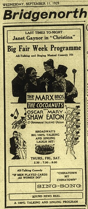 When the Marx Brothers did finally come to town, it was on screen, in their first movie as a group:  Examiner , Sept. 11, 1929, p.17.