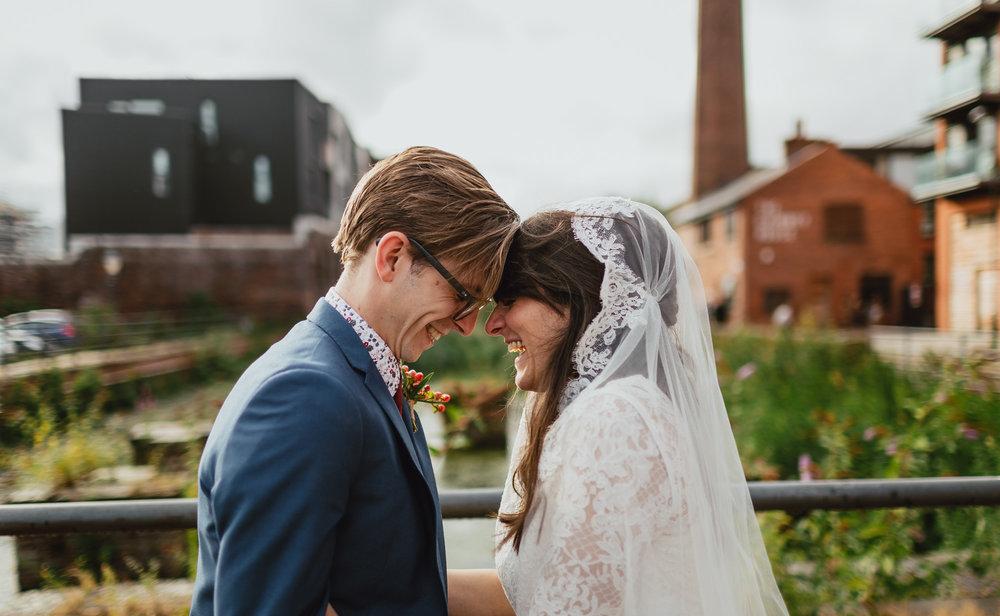 luis calow photographer, london, couple shot, wedding dress, bride, groom, kelham island.jpg