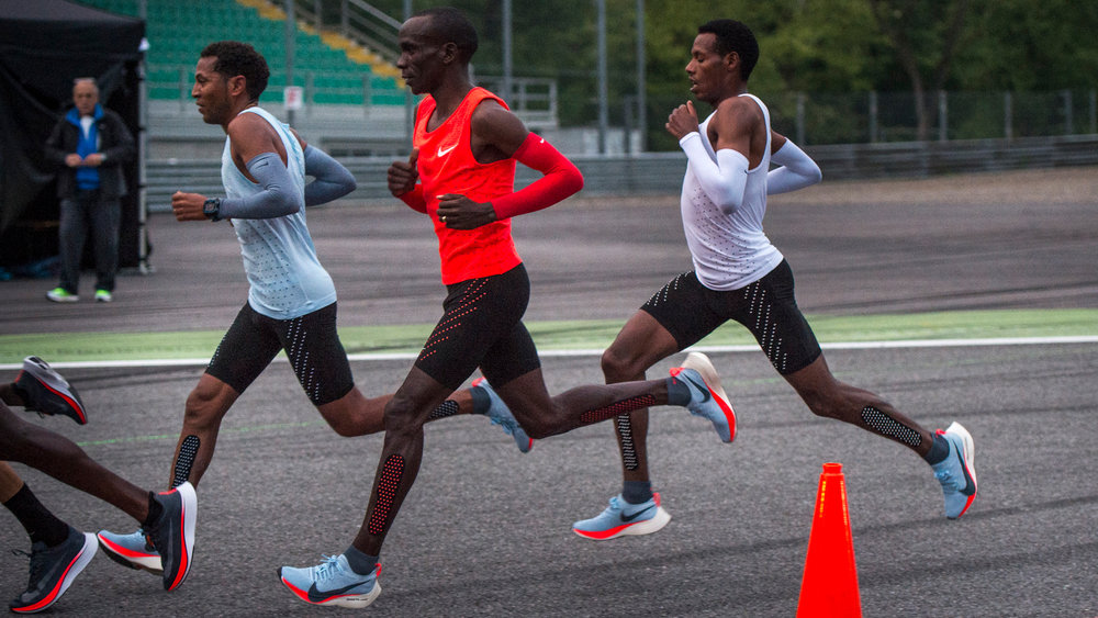 """Figure 8. Nike's """"Breaking 2"""" campaign with marathon world record holder Eliud Kipchoge (pictured wearing their Vapor Fly trainers)"""