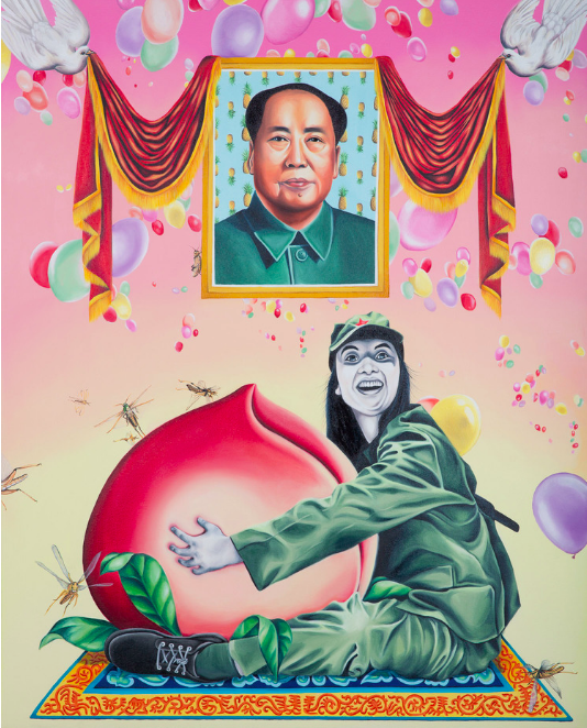Humbly Offering Chairman Mao 10,000 Years of Boundless Longevity , 2015, from the series bravery and grace