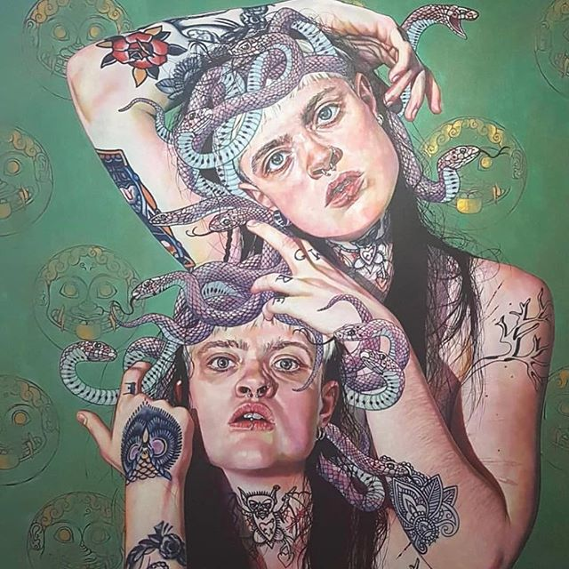 🐍🐍🐍MEDUSA🐍 🐍 🐍  insane artwork by @sarahmuirheadart 😱 literally blown away every time by her talent and to have my own is beyond an honour! 💫💫💫