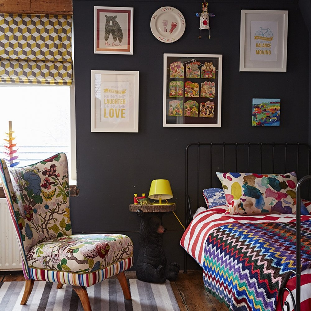 Arthur's bedroom, dark walls and colour!