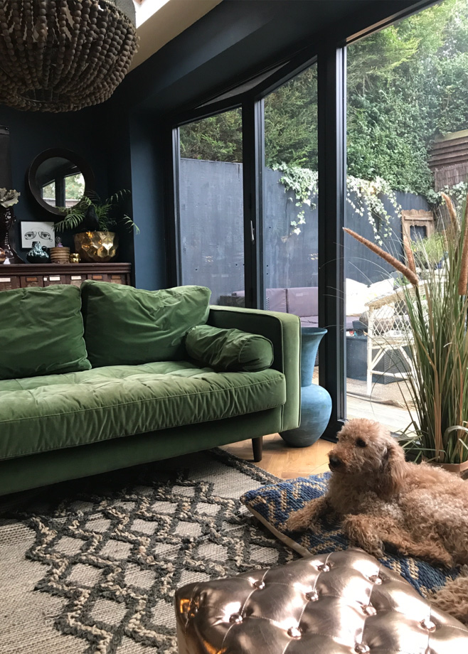 Shelley and her husband worked on their kitchen extensions themselves, creating a cosy and inviting space. Recognise the green sofa? Yes it's the same as mine from MADE. http://www.made.com