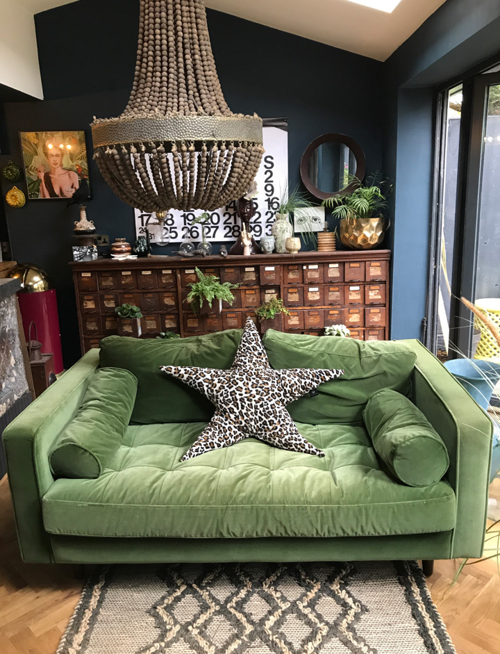 The chandelier is from Abigail Ahern. The star cushion is made by @suburbansalon