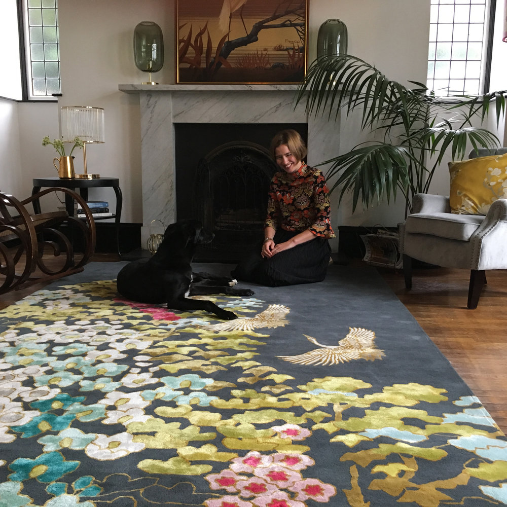 Wendy alongside her Mount Orient Rug