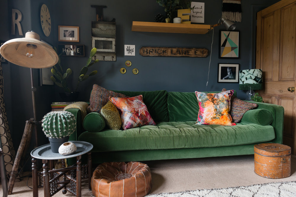 Mairi Helena Cushions on my Green Sofa