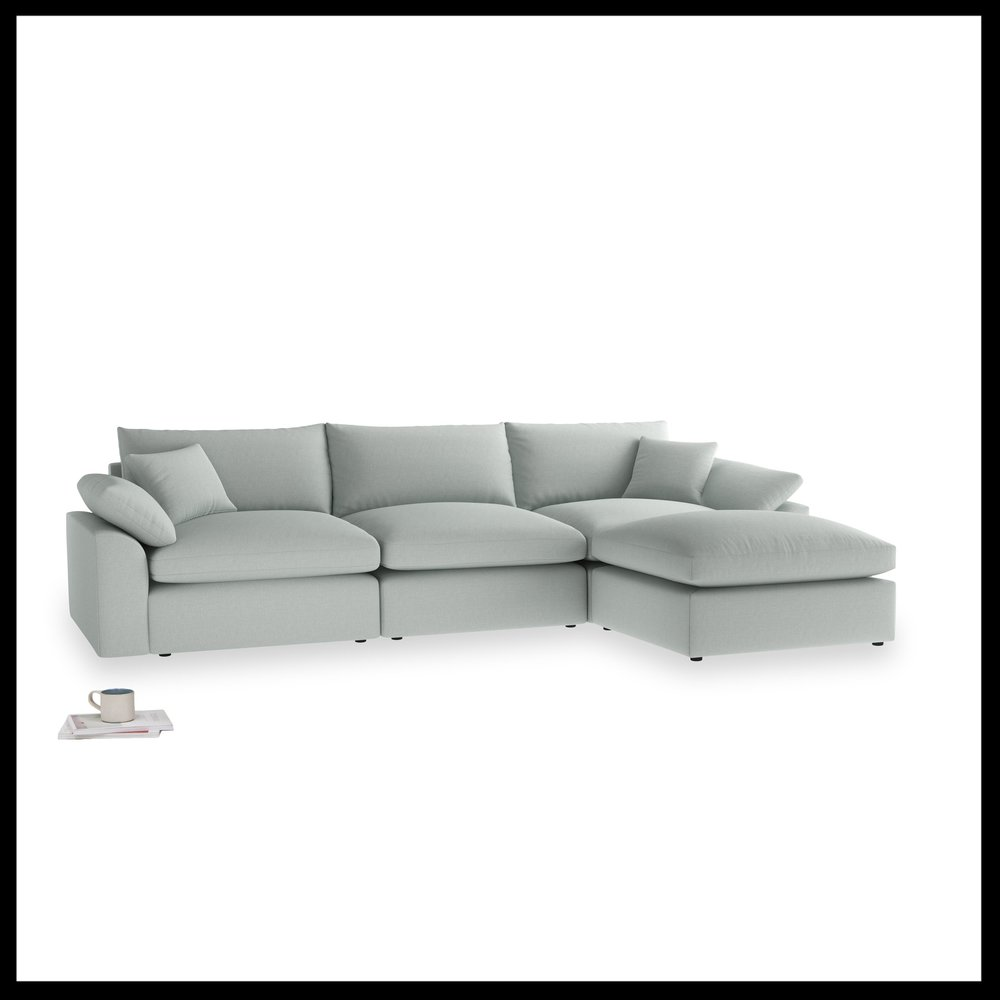 Loaf - Cuddlemuffin chaise in French Blue brushed cotton, from £3590.jpg