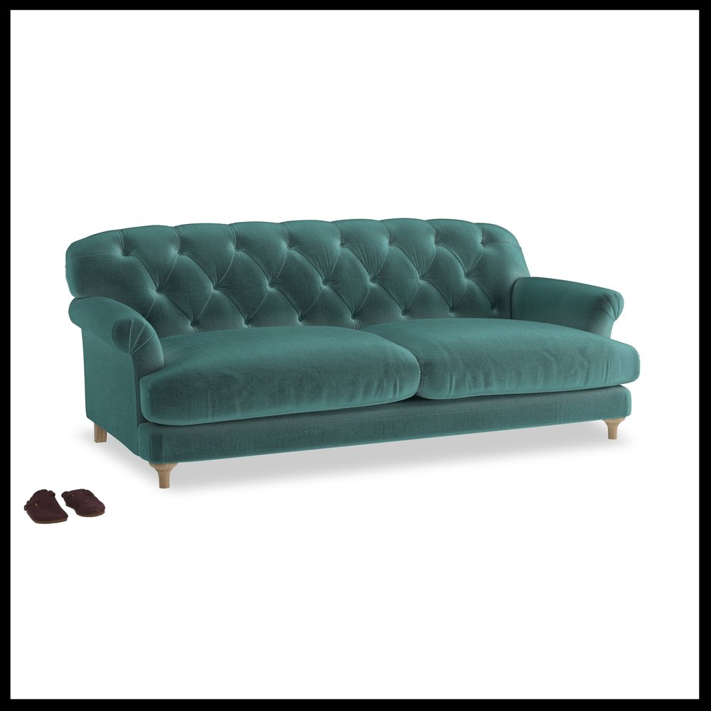 Loaf - Truffle sofa in Real Teal Clever Velvet from £1495.jpg
