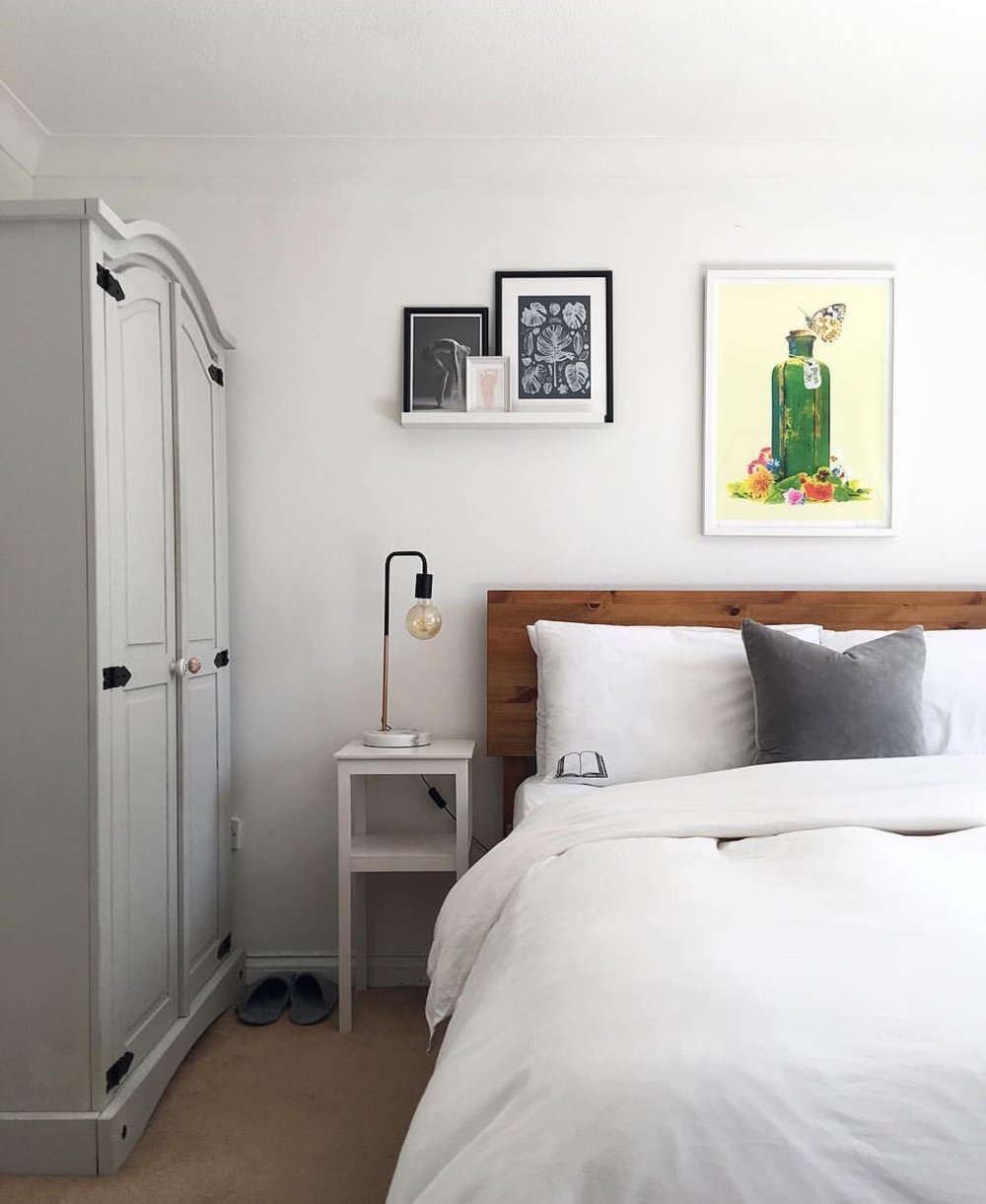 My bedroom details, Bed: Warren evans, Bedding: The White Company, Alice in Wonderland print: Print Club London