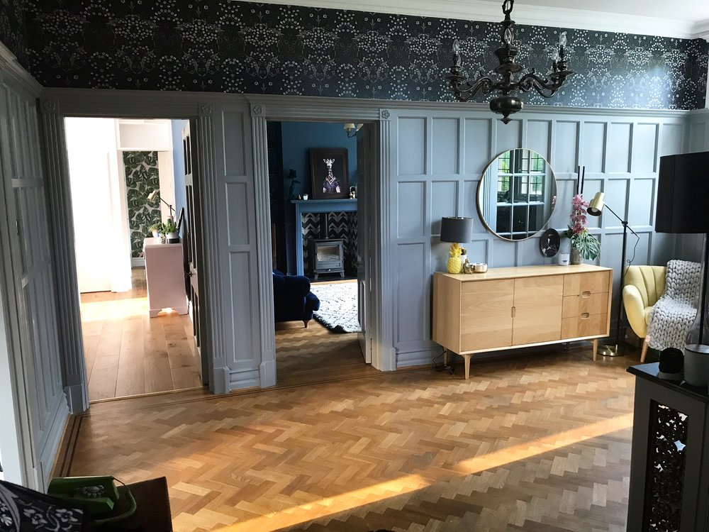 Katie's Hallway with original panelling, has influenced her use of panelling elsewhere in her bedroom and bathrooms