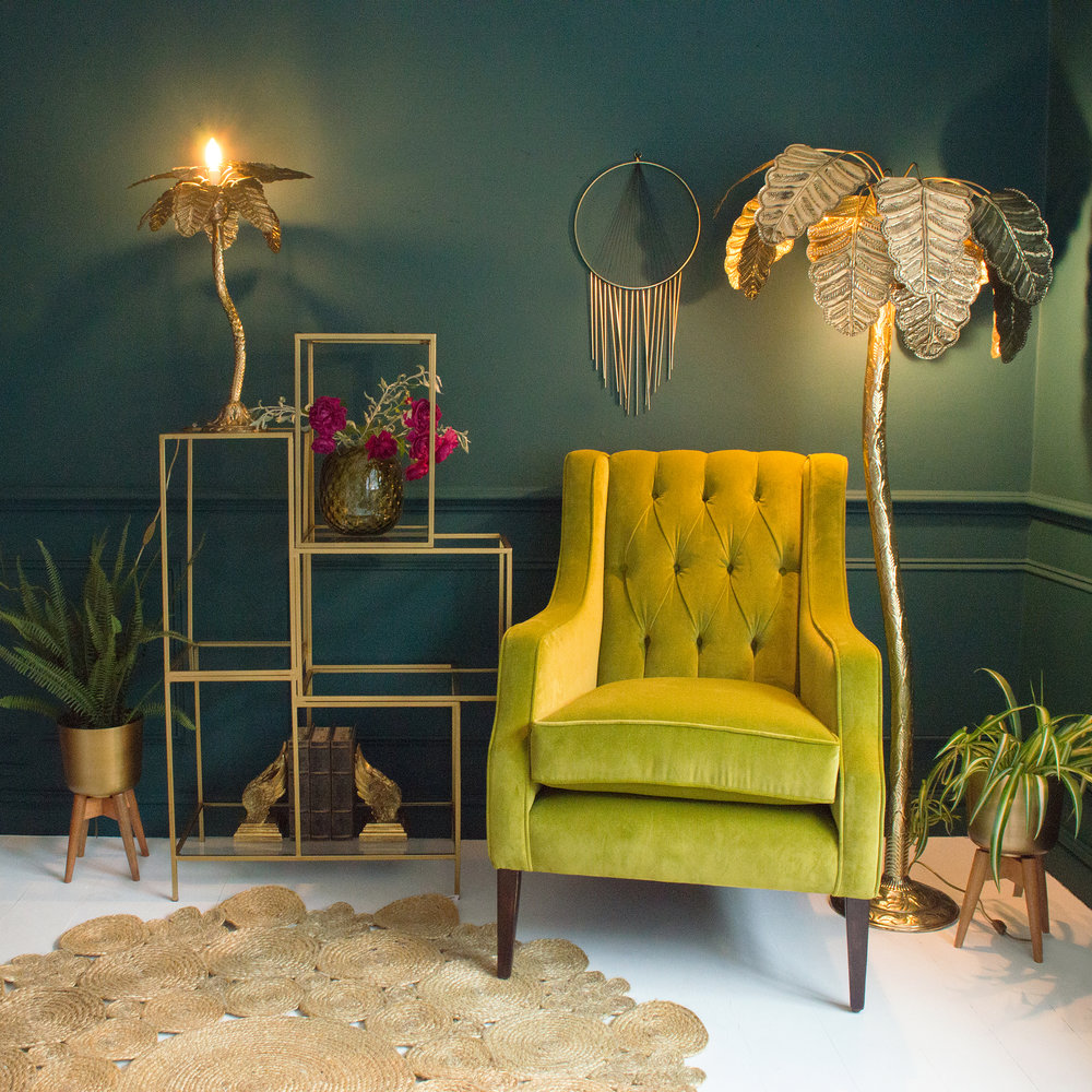 Audenza- Palm Tree Floor Lamp £995. Sumptuous Winged Back Velvet Armchair £1,495.  Palm Tree Table Lamp £305 (3).jpg